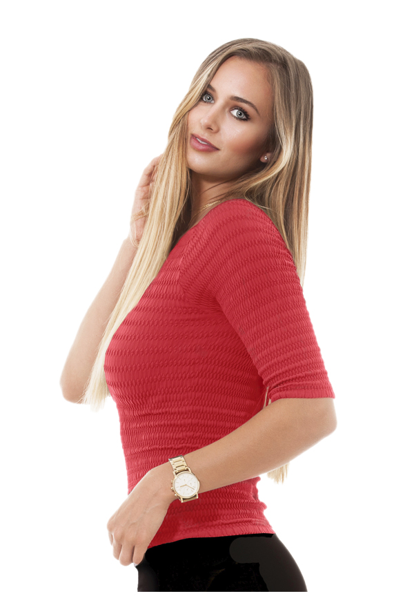 3/4 Sleeve Scrunchy Top | Red