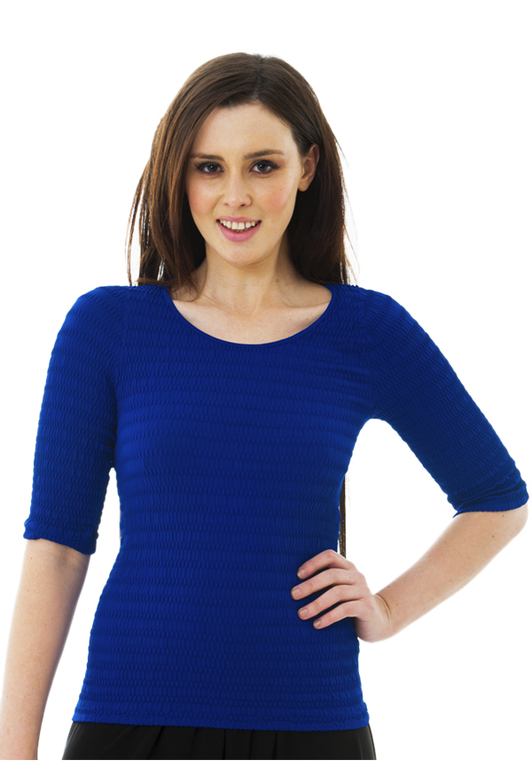 3/4 Sleeve Scrunchy Top | Royal Blue