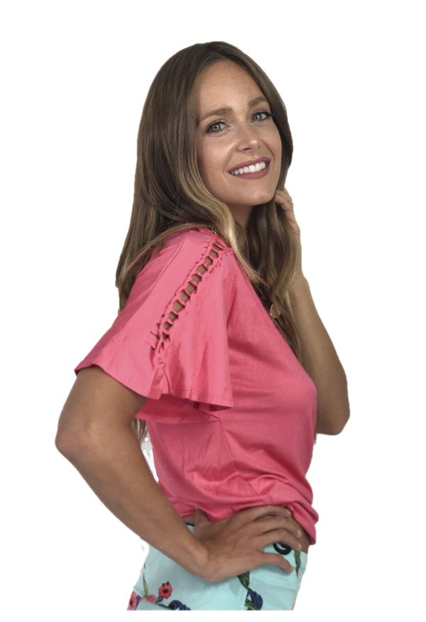 Agho Bell-sleeve Top | Chic Coral