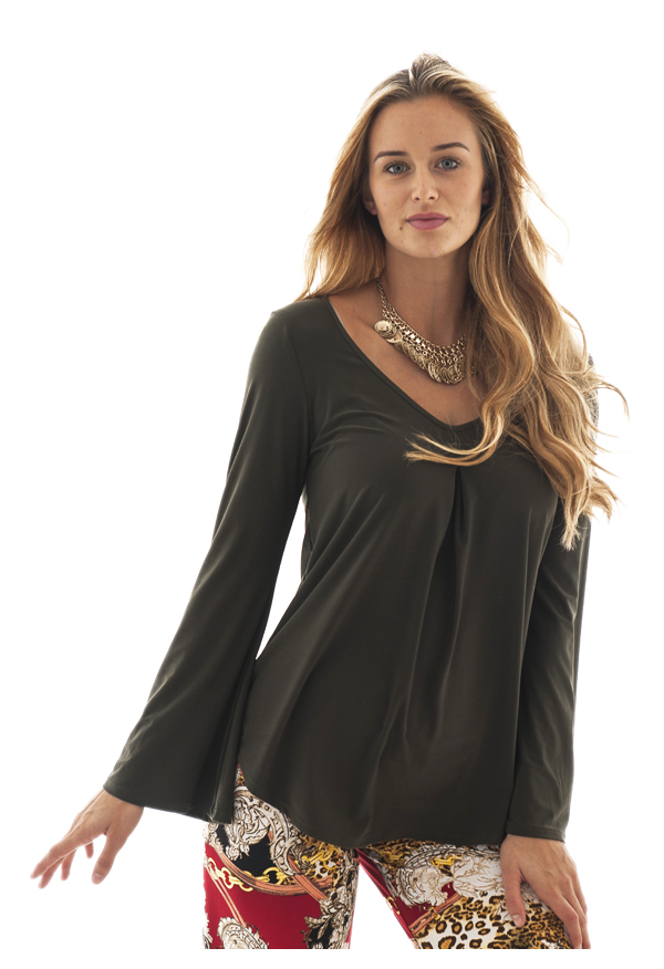 Bell-sleeve Top |  Olive