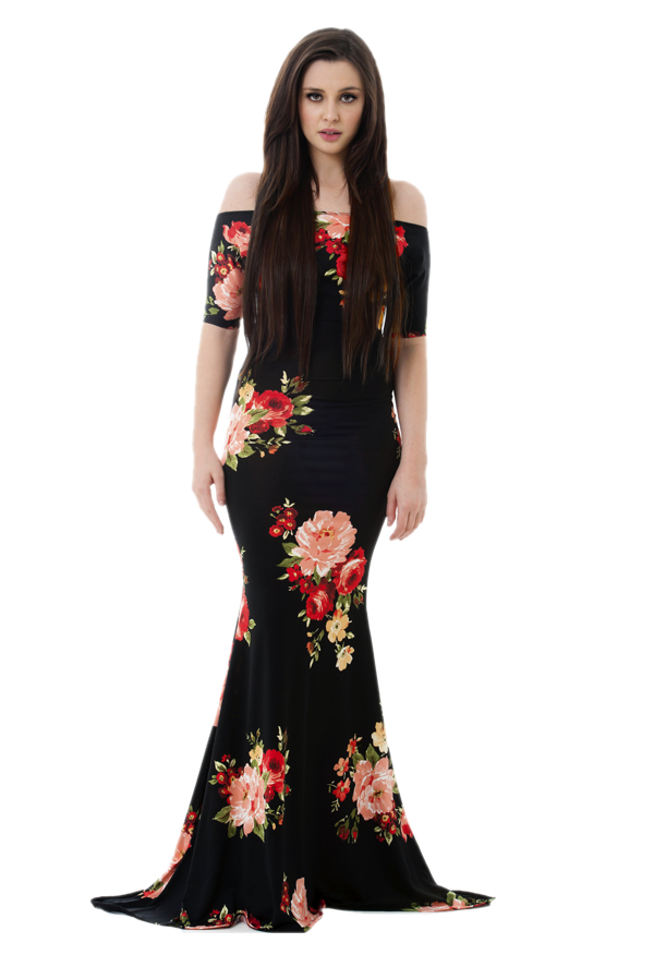 Goddess Dress | Black/Coral Bouquet