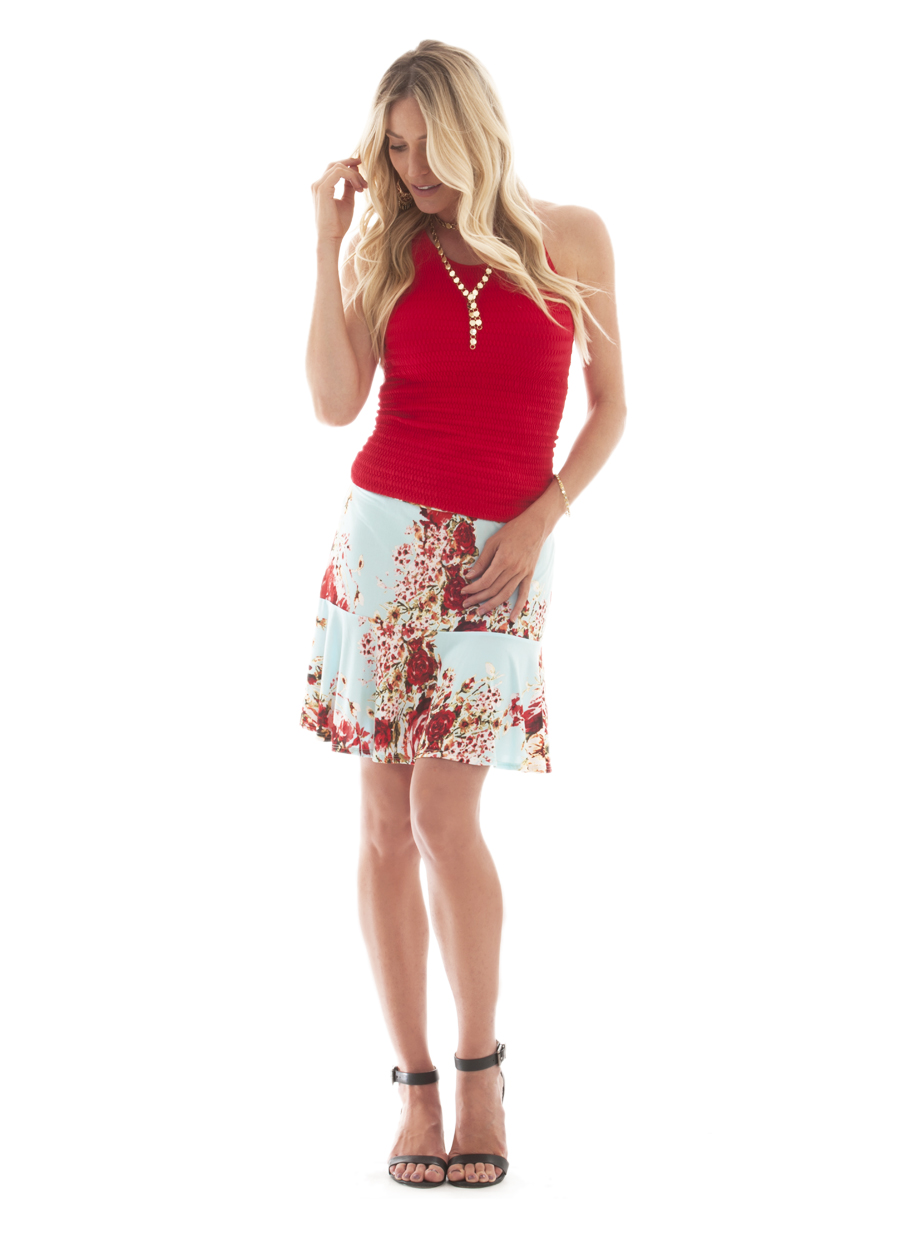 Lavanzo Skirt | Sky Blue/Red Floral