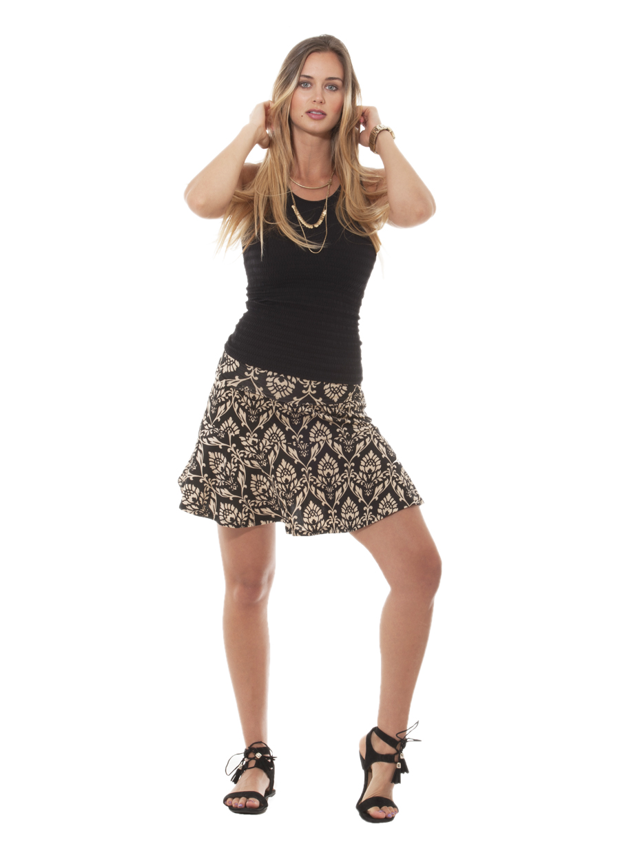 Lavanzo Skirt | Black/Sand Damask