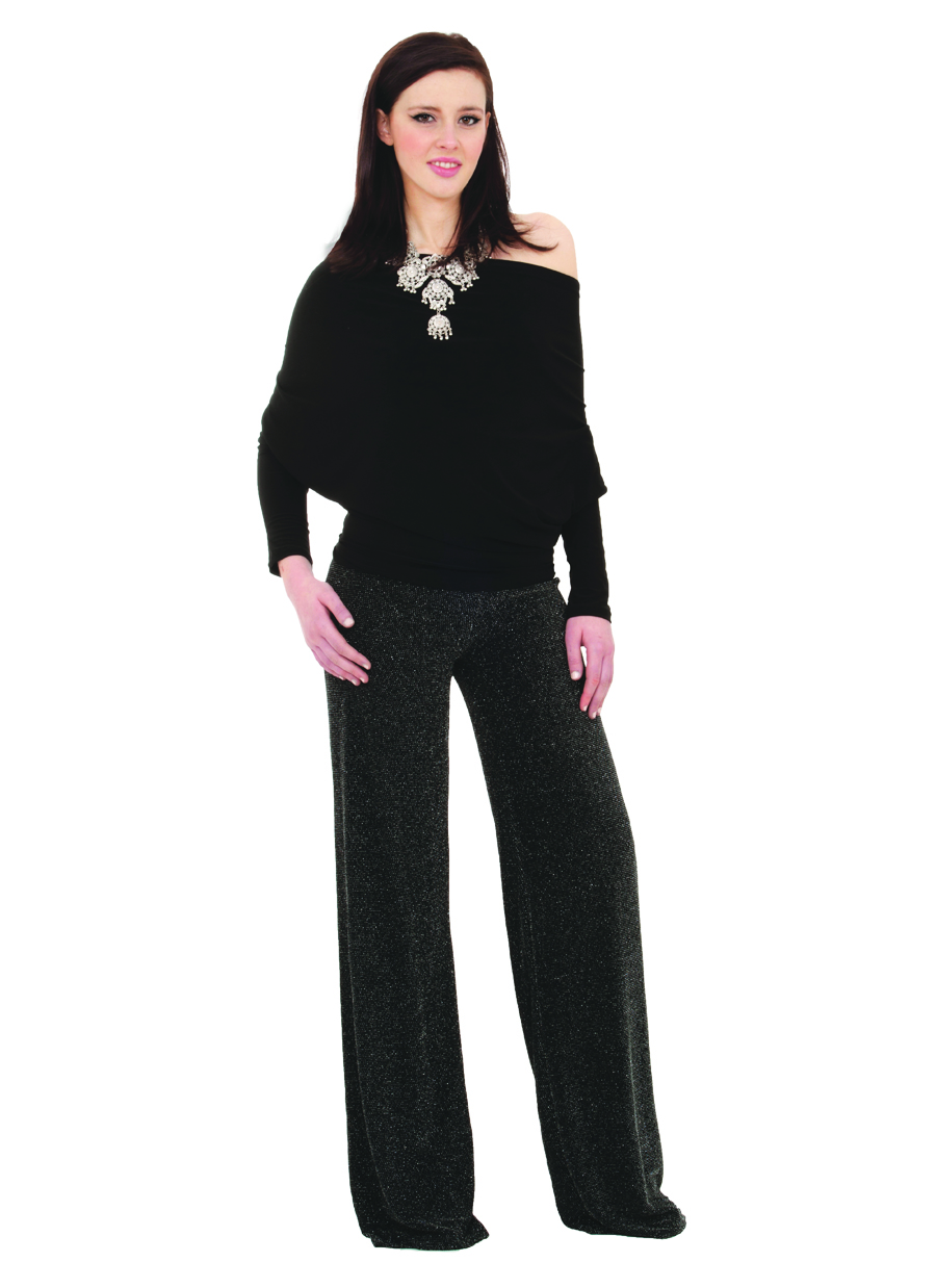 Palazzo Pants | Sheer Black Sparkle