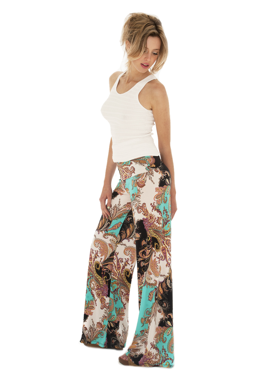 Palazzo Pant | Lovely Turquoise/Black