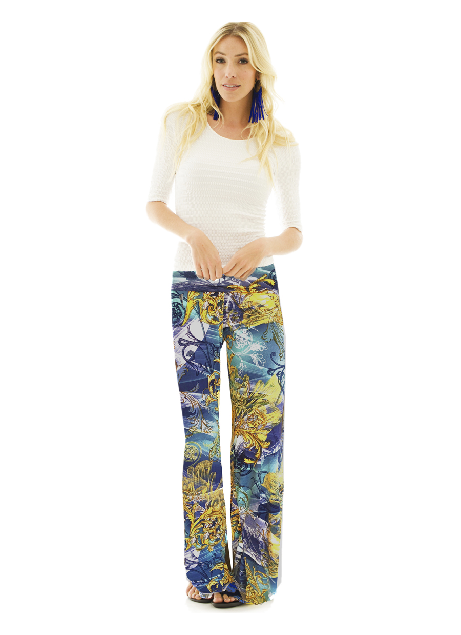 Palazzo Pant | Navy/Mint Islands