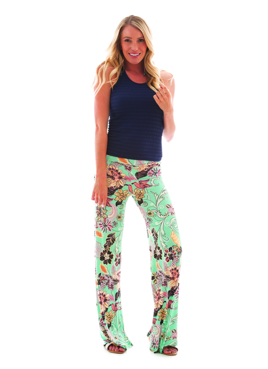 Palazzo Pant | Textured Floral Print