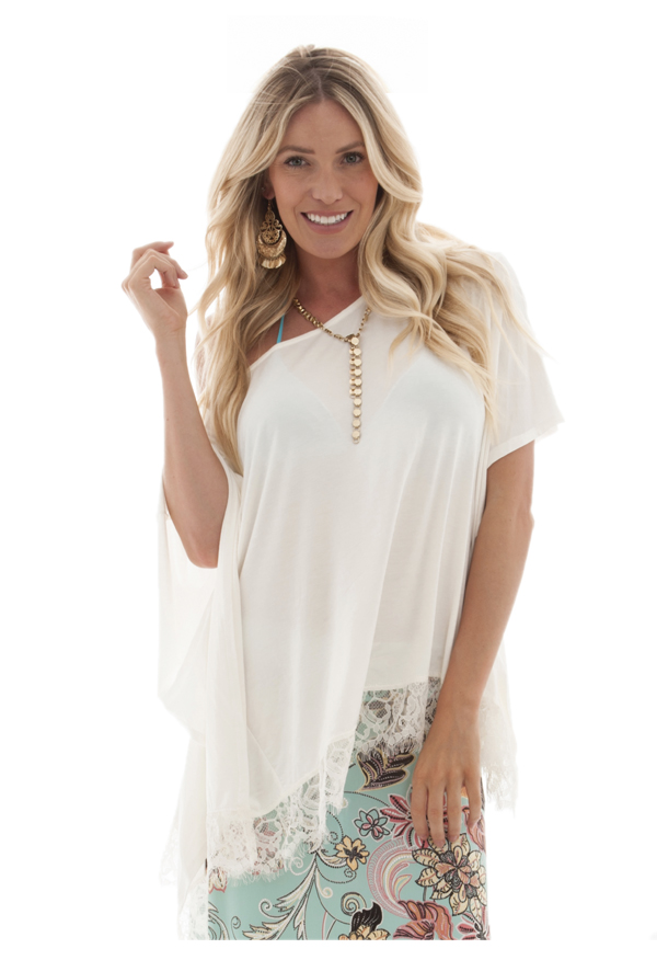 Poncho with lace | Ivory