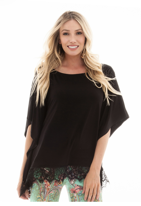 Poncho with lace | Black