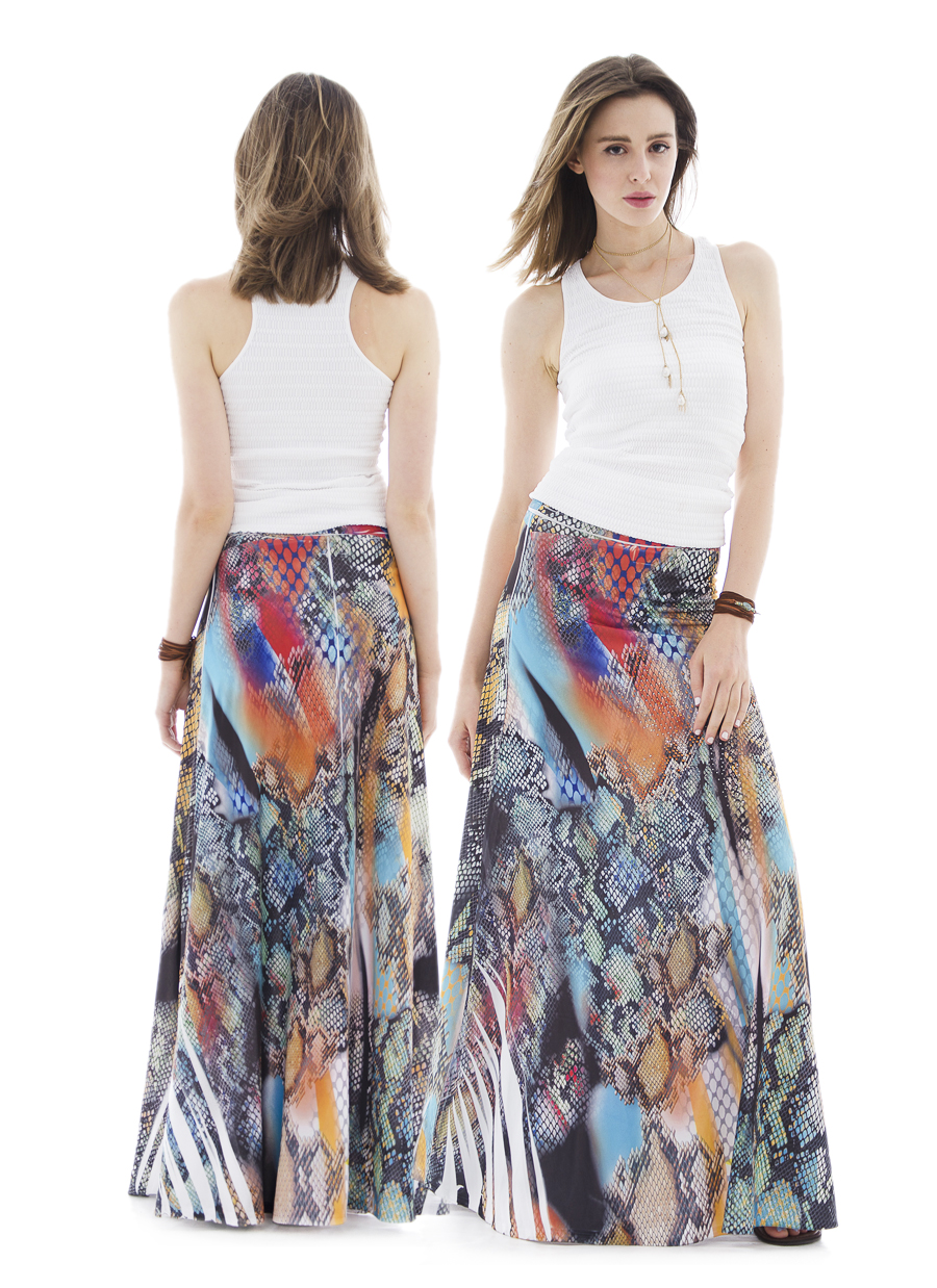 Rhinestone Maxi Skirt | Python Multi Sublimation
