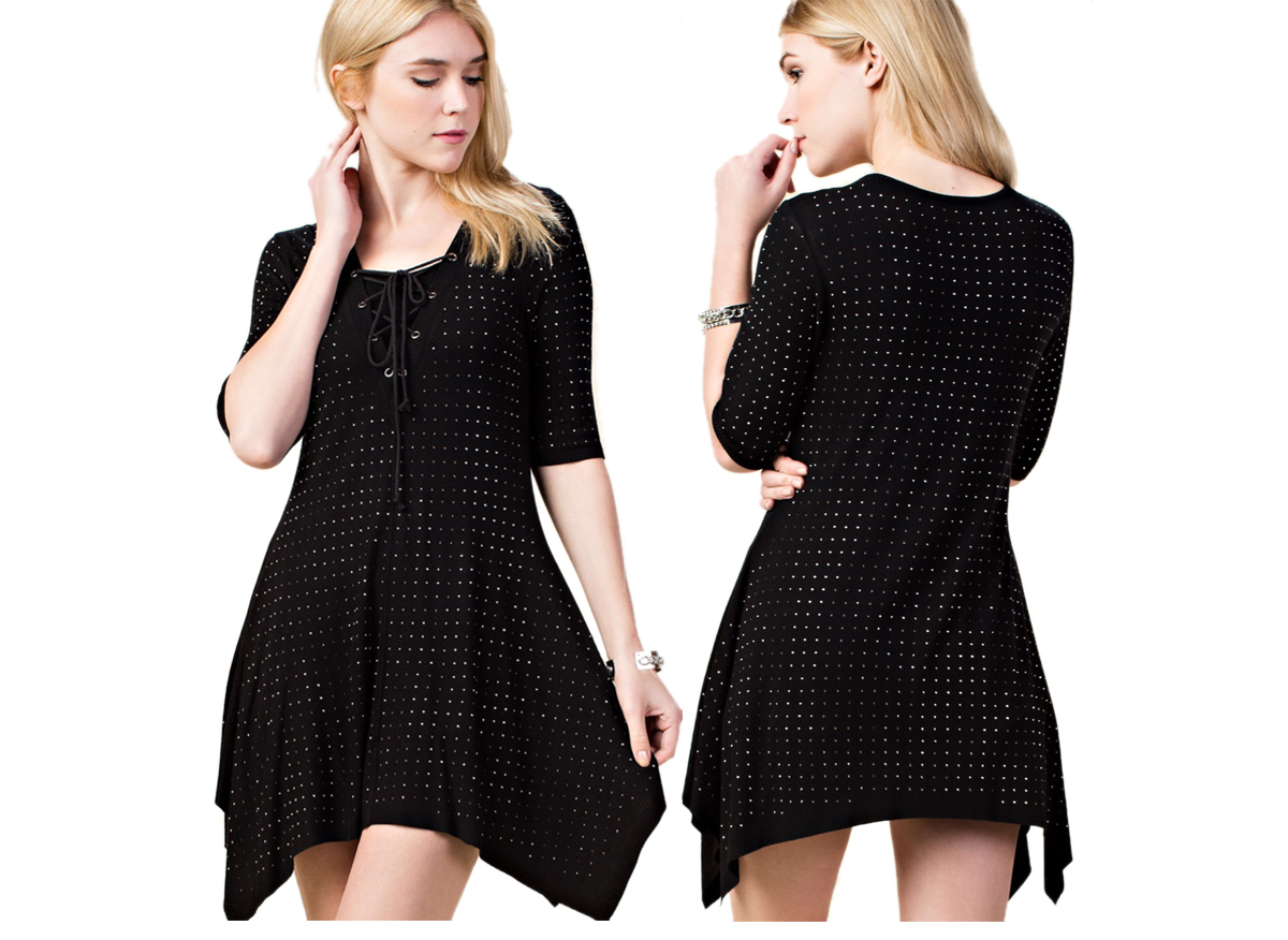 All Over Rhinestone Lace-up Top/Dress